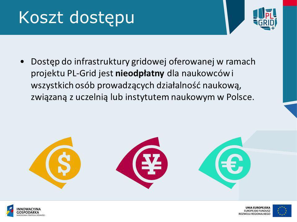 Koszt dostępu Dostęp do infrastruktury gridowej oferowanej w ramach projektu PL-Grid jest nieodpłatny dla naukowców i wszystkich osób prowadzących dzi