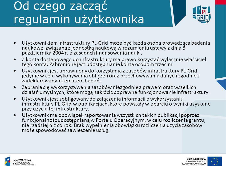 Od czego zacząć – zasady funkcjonowania Aby zostać użytkownikiem infrastruktury PL-Grid należy dokonać rejestracji w portalu PL-Grid.