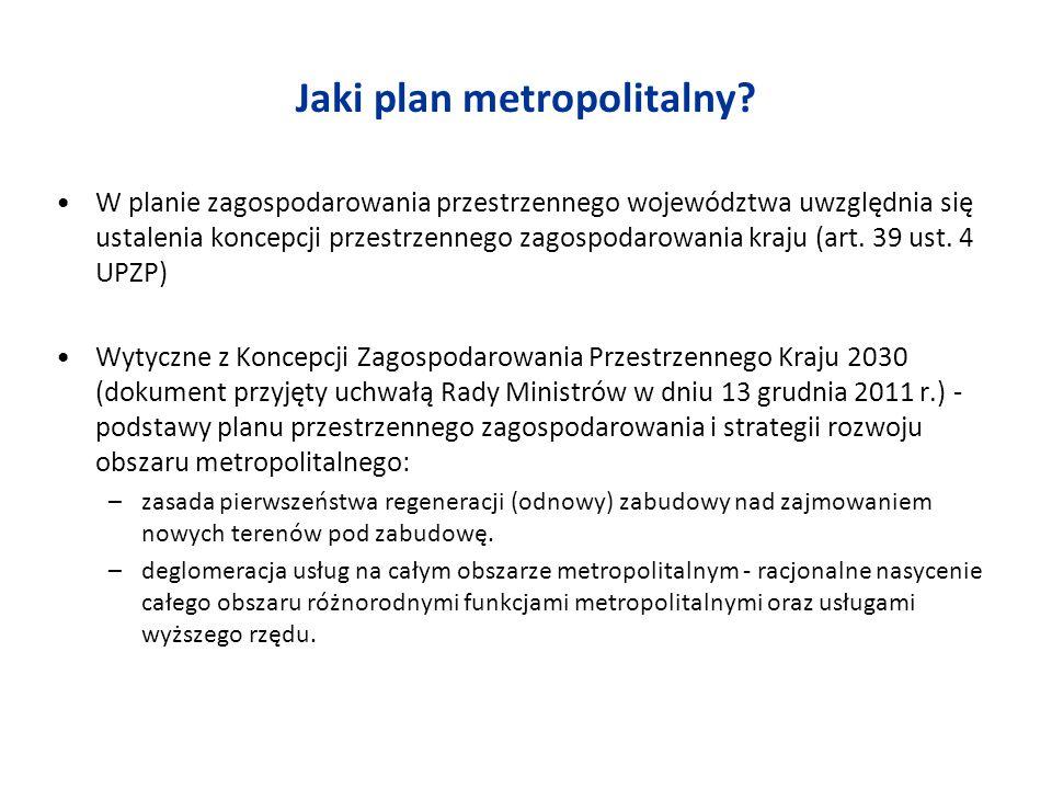 Jaki plan metropolitalny? W planie zagospodarowania przestrzennego województwa uwzględnia się ustalenia koncepcji przestrzennego zagospodarowania kraj