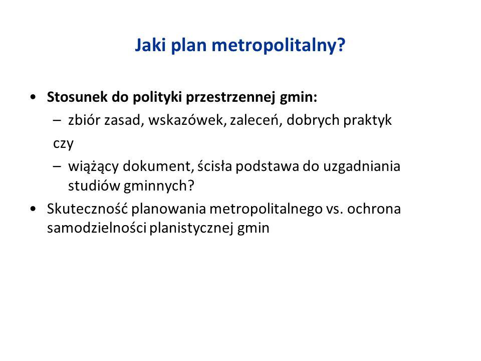 Jaki plan metropolitalny? Stosunek do polityki przestrzennej gmin: –zbiór zasad, wskazówek, zaleceń, dobrych praktyk czy –wiążący dokument, ścisła pod