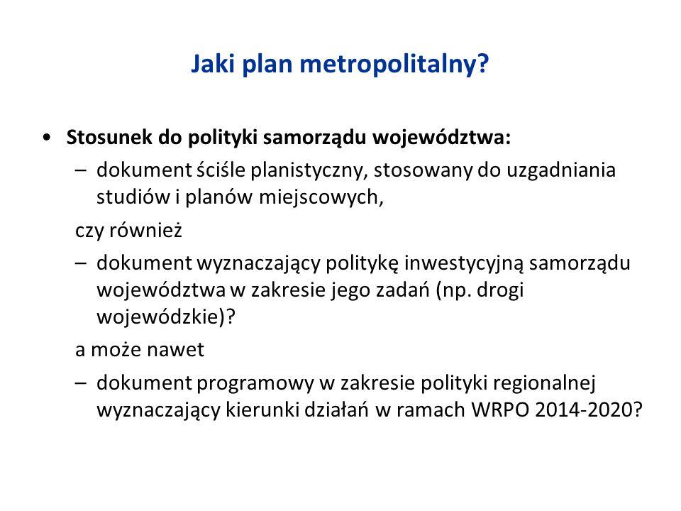 Jaki plan metropolitalny? Stosunek do polityki samorządu województwa: –dokument ściśle planistyczny, stosowany do uzgadniania studiów i planów miejsco