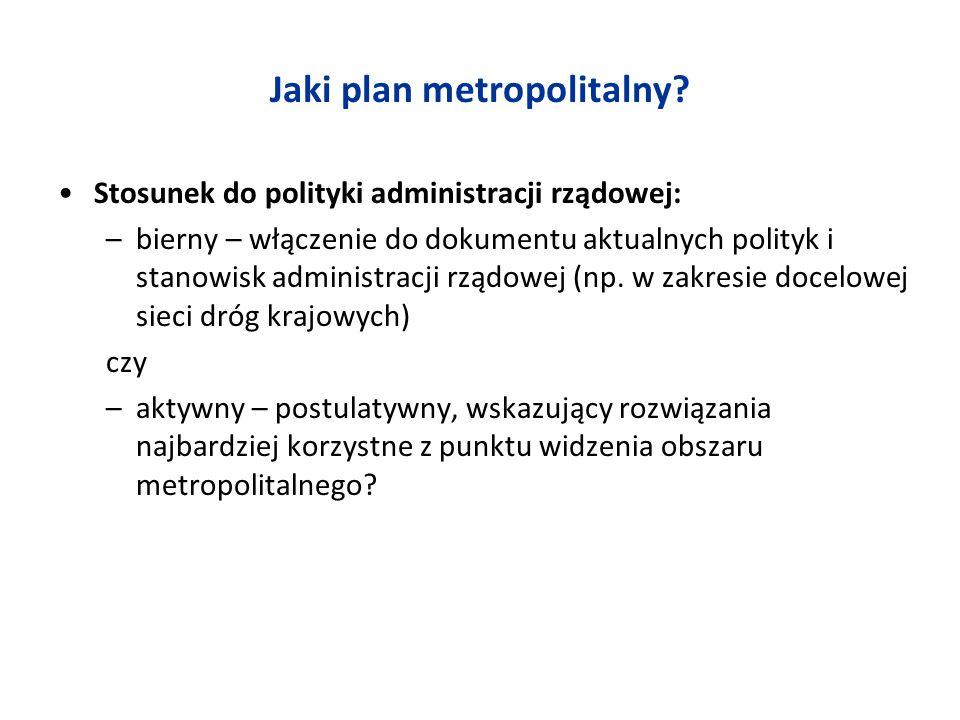 Jaki plan metropolitalny? Stosunek do polityki administracji rządowej: –bierny – włączenie do dokumentu aktualnych polityk i stanowisk administracji r