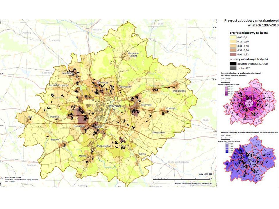 Rozwój aglomeracji 2000-2010 W latach 2000-2010 w aglomeracji poznańskiej oddano do użytku 65 tys.