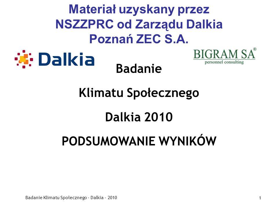 Badanie Klimatu Społecznego - Dalkia - 2010 1 Materiał uzyskany przez NSZZPRC od Zarządu Dalkia Poznań ZEC S.A. Badanie Klimatu Społecznego Dalkia 201
