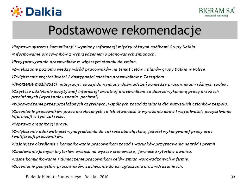 Badanie Klimatu Społecznego - Dalkia - 2010 39 Podstawowe rekomendacje Poprawa systemu komunikacji / wymiany informacji między różnymi spółkami Grupy