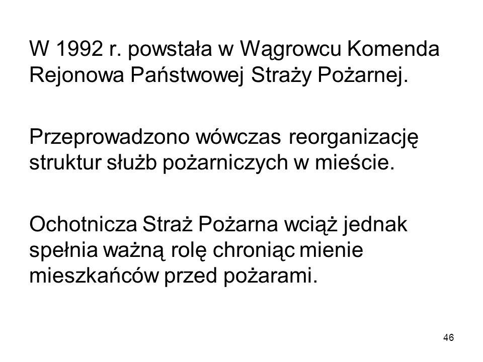 W 1992 r. powstała w Wągrowcu Komenda Rejonowa Państwowej Straży Pożarnej. Przeprowadzono wówczas reorganizację struktur służb pożarniczych w mieście.