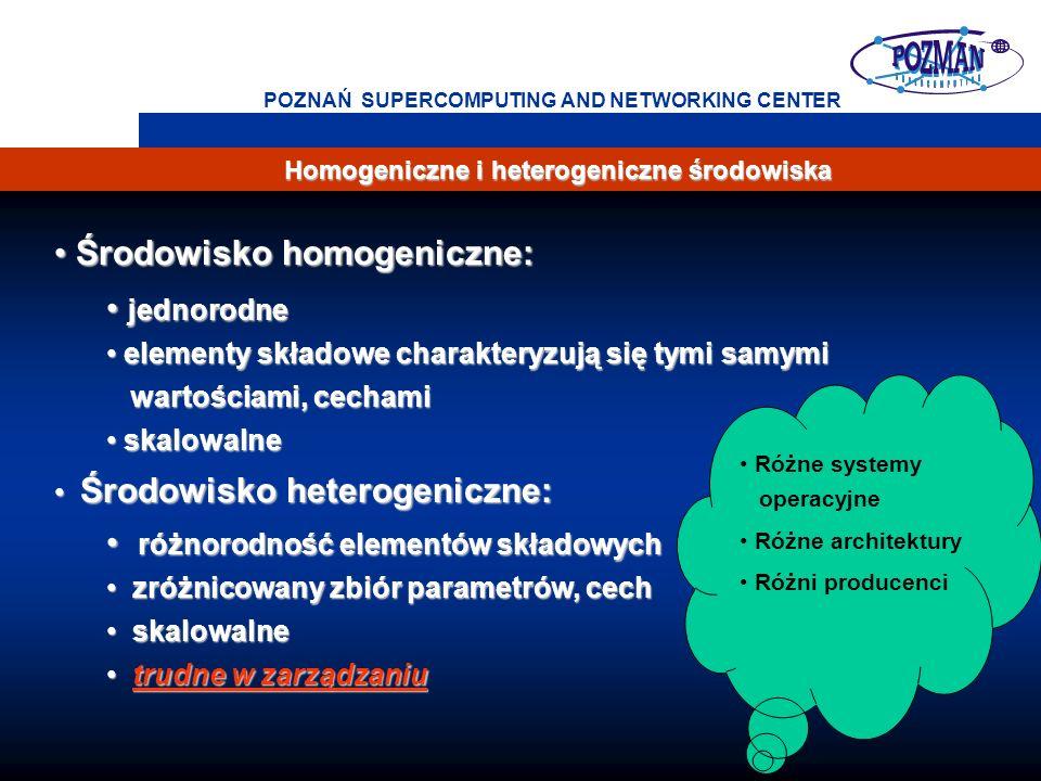 2 POZNAŃ SUPERCOMPUTING AND NETWORKING CENTER Homogeniczne i heterogeniczne środowiska Środowisko homogeniczne: Środowisko homogeniczne: jednorodne jednorodne elementy składowe charakteryzują się tymi samymi elementy składowe charakteryzują się tymi samymi wartościami, cechami wartościami, cechami skalowalne skalowalne Środowisko heterogeniczne: Środowisko heterogeniczne: różnorodność elementów składowych różnorodność elementów składowych zróżnicowany zbiór parametrów, cech zróżnicowany zbiór parametrów, cech skalowalne skalowalne trudne w zarządzaniu trudne w zarządzaniu Różne systemy operacyjne Różne architektury Różni producenci