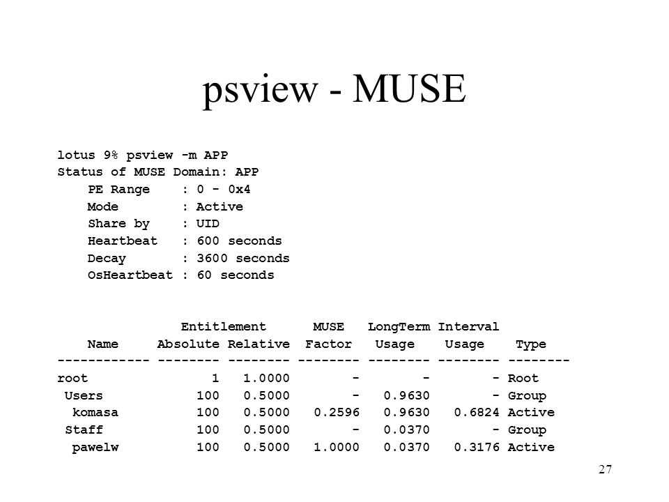 27 psview - MUSE lotus 9% psview -m APP Status of MUSE Domain: APP PE Range : 0 - 0x4 Mode : Active Share by : UID Heartbeat : 600 seconds Decay : 360