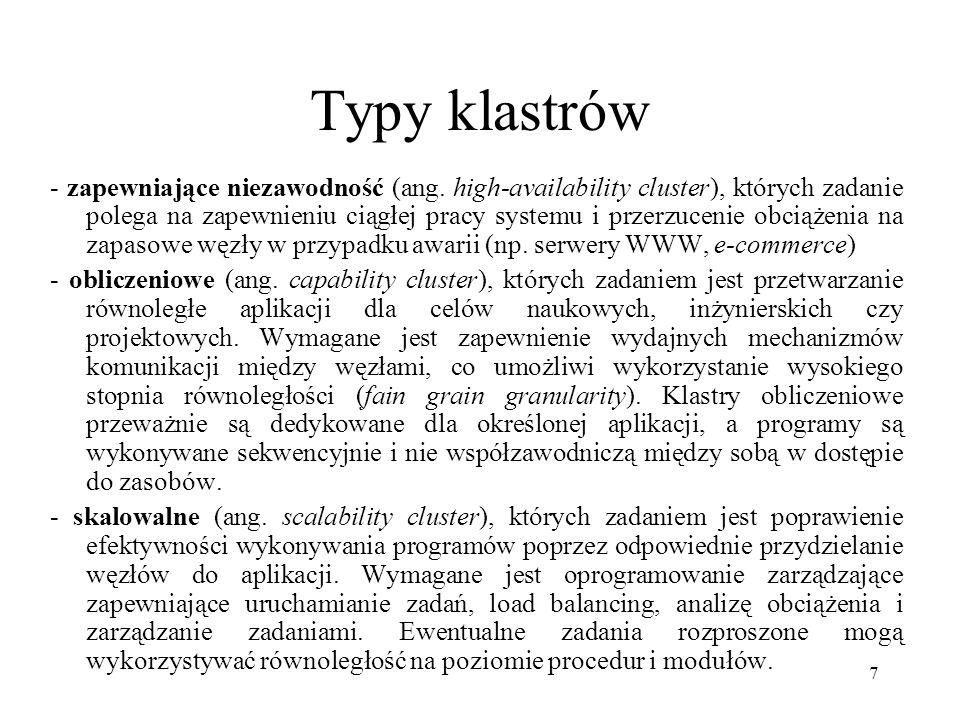 7 Typy klastrów - zapewniające niezawodność (ang.