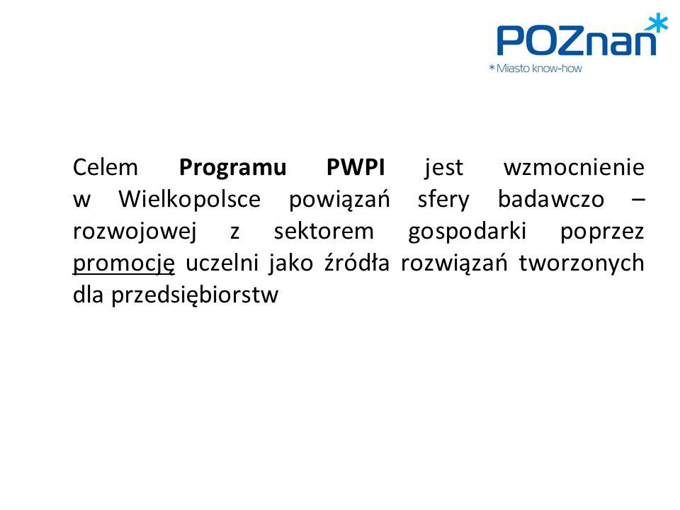 Celem Programu PWPI jest wzmocnienie w Wielkopolsce powiązań sfery badawczo – rozwojowej z sektorem gospodarki poprzez promocję uczelni jako źródła ro