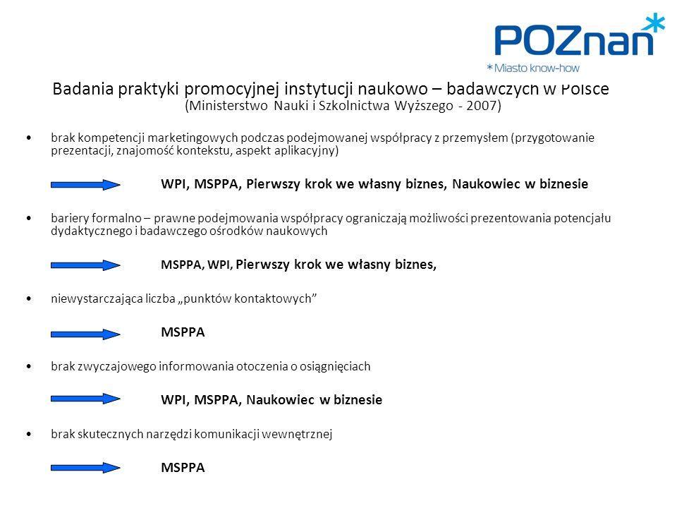 Badania praktyki promocyjnej instytucji naukowo – badawczych w Polsce (Ministerstwo Nauki i Szkolnictwa Wyższego - 2007) brak kompetencji marketingowych podczas podejmowanej współpracy z przemysłem (przygotowanie prezentacji, znajomość kontekstu, aspekt aplikacyjny) WPI, MSPPA, Pierwszy krok we własny biznes, Naukowiec w biznesie bariery formalno – prawne podejmowania współpracy ograniczają możliwości prezentowania potencjału dydaktycznego i badawczego ośrodków naukowych MSPPA, WPI, Pierwszy krok we własny biznes, niewystarczająca liczba punktów kontaktowych MSPPA brak zwyczajowego informowania otoczenia o osiągnięciach WPI, MSPPA, Naukowiec w biznesie brak skutecznych narzędzi komunikacji wewnętrznej MSPPA