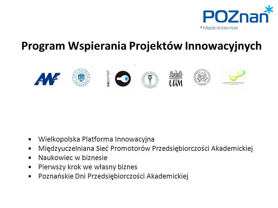 Program Wspierania Projektów Innowacyjnych Wielkopolska Platforma Innowacyjna Międzyuczelniana Sieć Promotorów Przedsiębiorczości Akademickiej Naukowi