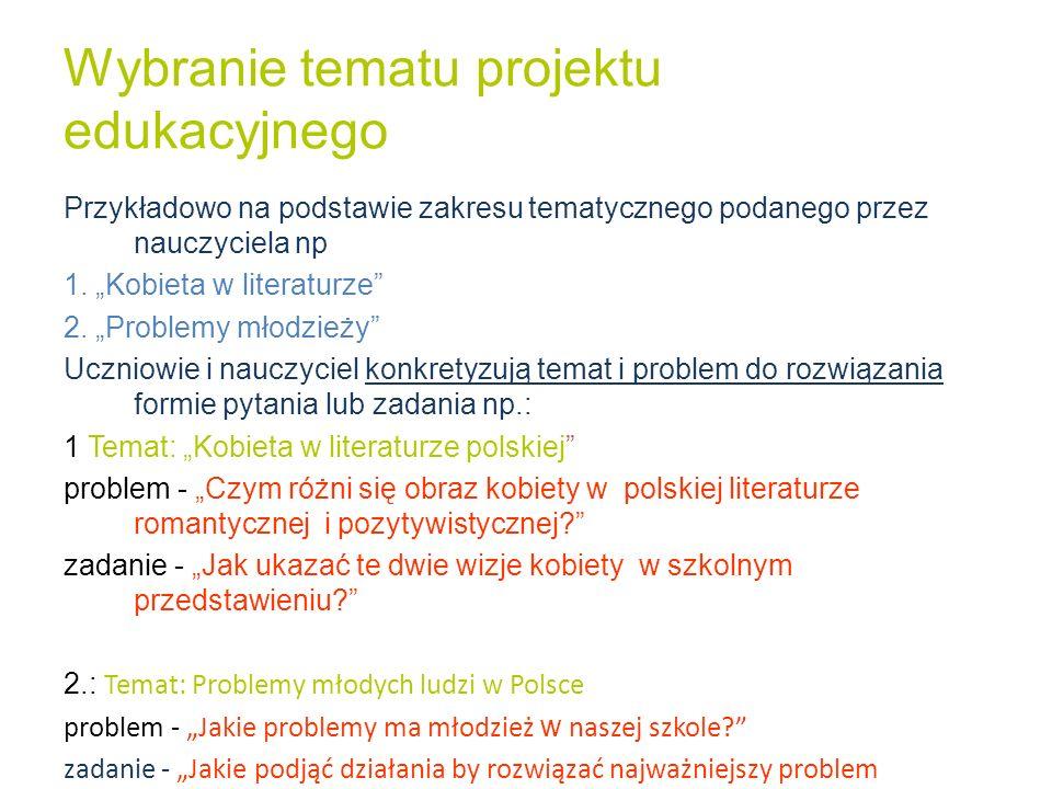 Wybranie tematu projektu edukacyjnego Przykładowo na podstawie zakresu tematycznego podanego przez nauczyciela np 1. Kobieta w literaturze 2. Problemy