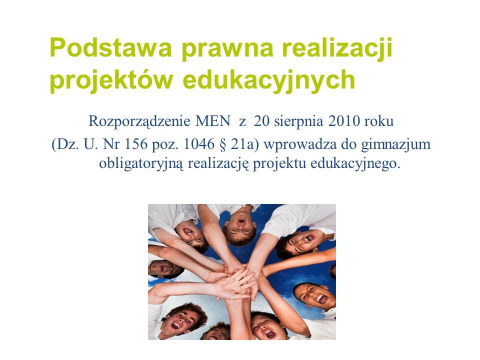 Podstawa prawna realizacji projektów edukacyjnych Rozporządzenie MEN z 20 sierpnia 2010 roku (Dz. U. Nr 156 poz. 1046 § 21a) wprowadza do gimnazjum ob