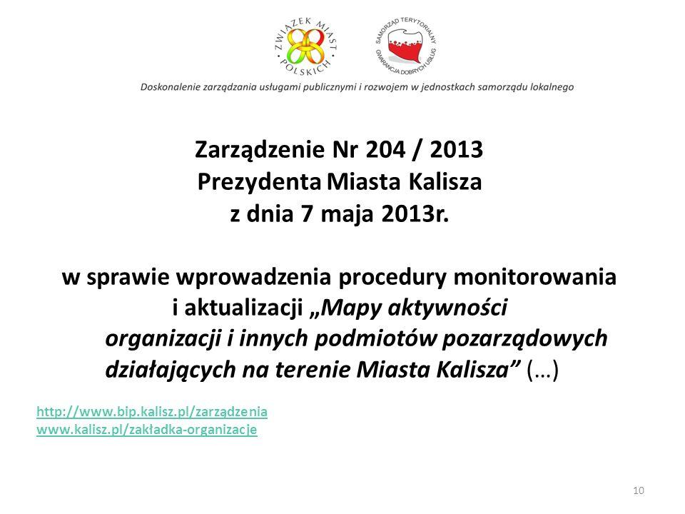 Zarządzenie Nr 204 / 2013 Prezydenta Miasta Kalisza z dnia 7 maja 2013r. w sprawie wprowadzenia procedury monitorowania i aktualizacji Mapy aktywności