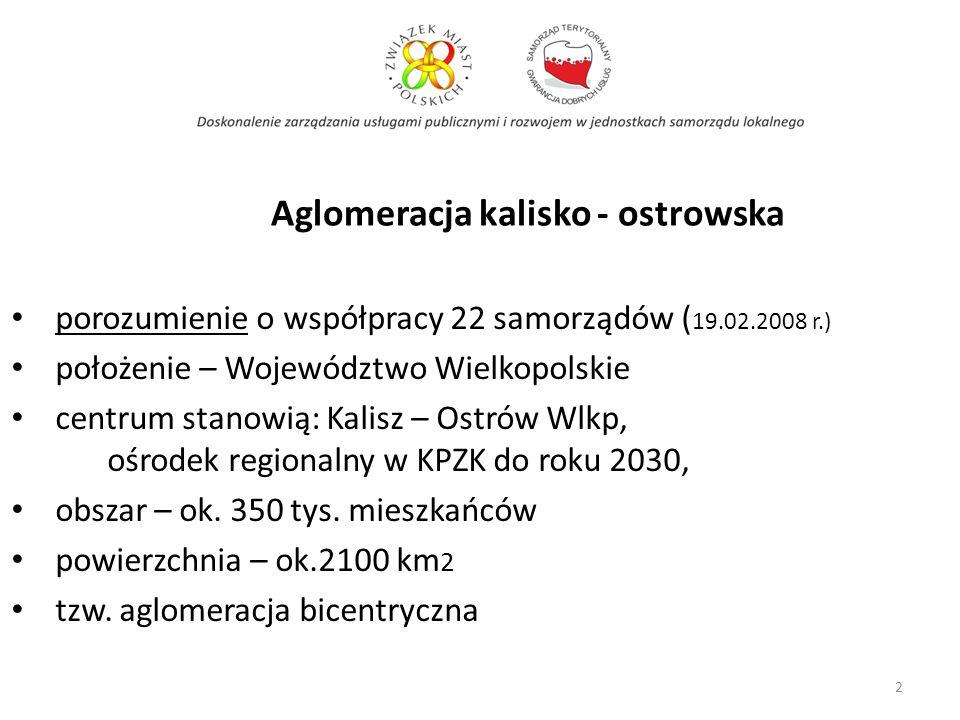 Aglomeracja kalisko - ostrowska porozumienie o współpracy 22 samorządów ( 19.02.2008 r.) położenie – Województwo Wielkopolskie centrum stanowią: Kalis