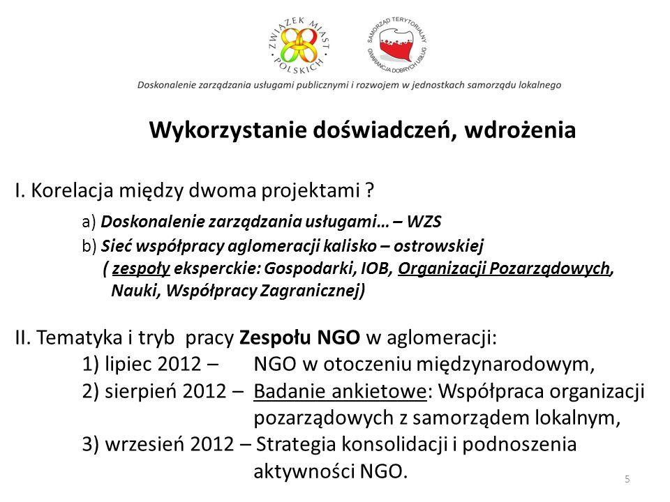 Wykorzystanie doświadczeń, wdrożenia I. Korelacja między dwoma projektami ? a) Doskonalenie zarządzania usługami… – WZS b) Sieć współpracy aglomeracji