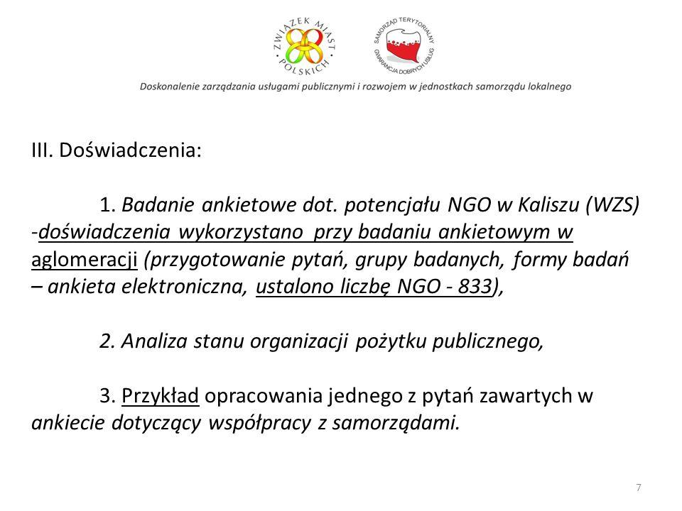 7 III. Doświadczenia: 1. Badanie ankietowe dot. potencjału NGO w Kaliszu (WZS) -doświadczenia wykorzystano przy badaniu ankietowym w aglomeracji (przy