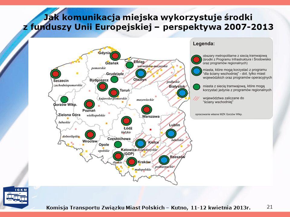 21 Jak komunikacja miejska wykorzystuje środki z funduszy Unii Europejskiej – perspektywa 2007-2013 Komisja Transportu Związku Miast Polskich – Kutno,