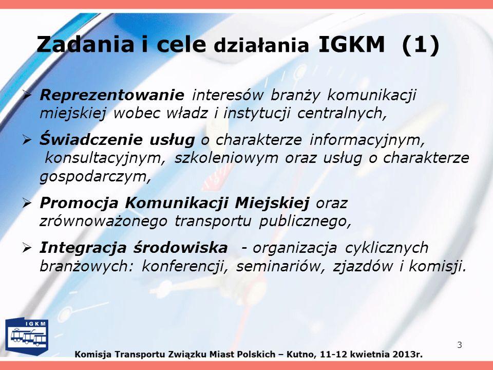 Zadania i cele działania IGKM (1) Reprezentowanie interesów branży komunikacji miejskiej wobec władz i instytucji centralnych, Świadczenie usług o cha