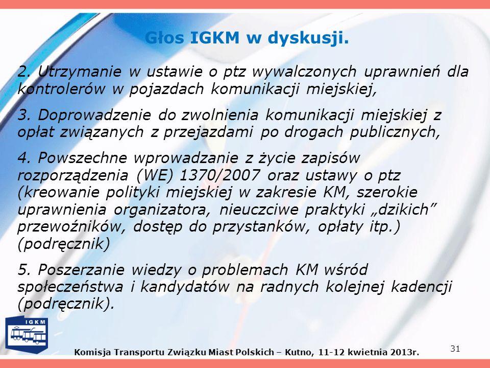 Głos IGKM w dyskusji. 2. Utrzymanie w ustawie o ptz wywalczonych uprawnień dla kontrolerów w pojazdach komunikacji miejskiej, 3. Doprowadzenie do zwol