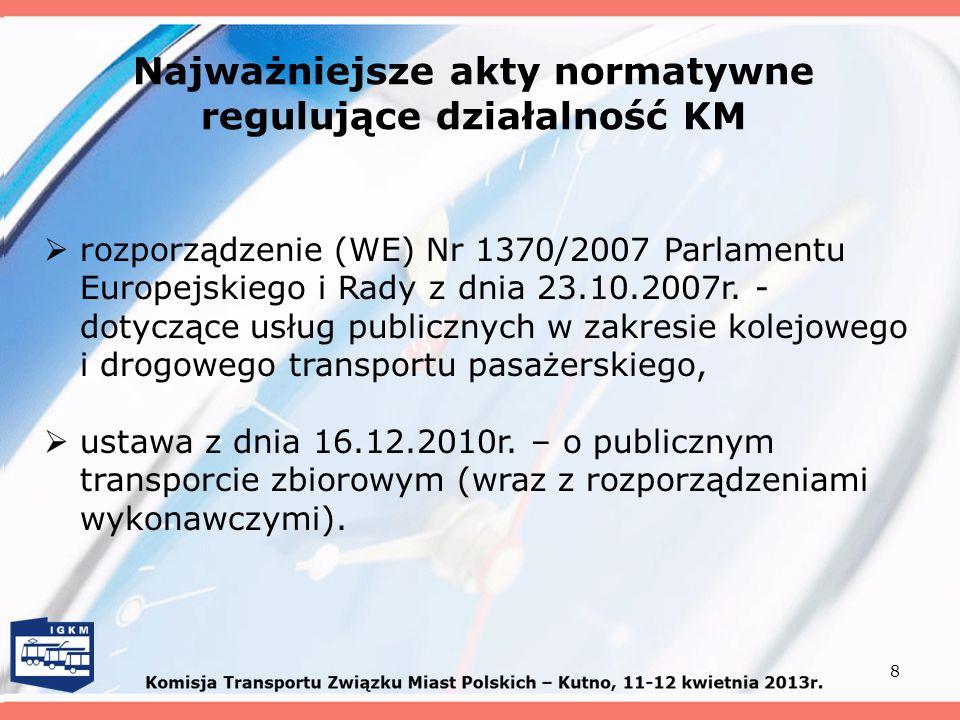 Najważniejsze akty normatywne regulujące działalność KM 8 rozporządzenie (WE) Nr 1370/2007 Parlamentu Europejskiego i Rady z dnia 23.10.2007r. - dotyc