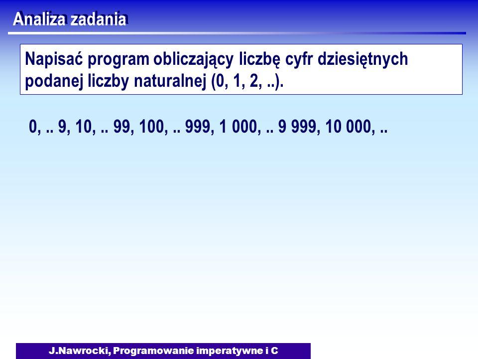 J.Nawrocki, Programowanie imperatywne i C Analiza zadania Napisać program obliczający liczbę cyfr dziesiętnych podanej liczby naturalnej (0, 1, 2,..).