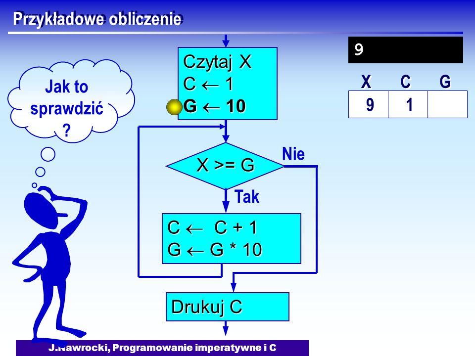 J.Nawrocki, Programowanie imperatywne i C Przykładowe obliczenie Nie X >= G Tak C C + 1 G G * 10 Drukuj C Czytaj X C 1 G 10 Jak to sprawdzić ? 9 1 X X