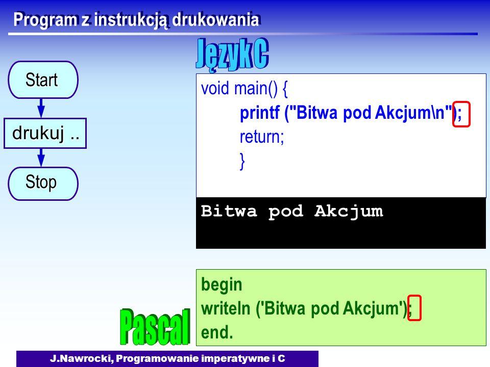 J.Nawrocki, Programowanie imperatywne i C Program z instrukcją drukowania void main() { printf ( Bitwa pod Akcjum\n ); return; } Bitwa pod Akcjum begin writeln ( Bitwa pod Akcjum ); end.