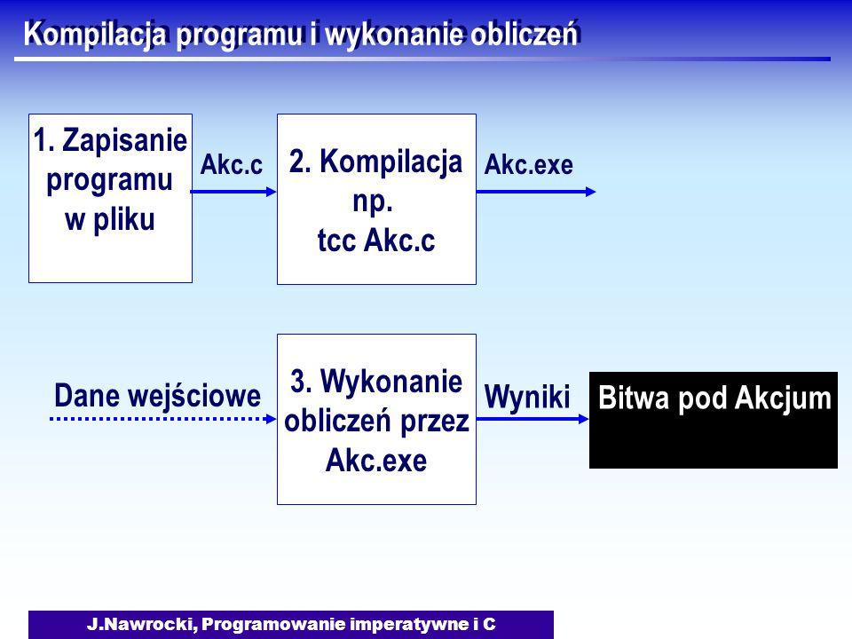 J.Nawrocki, Programowanie imperatywne i C Kompilacja programu i wykonanie obliczeń 1.
