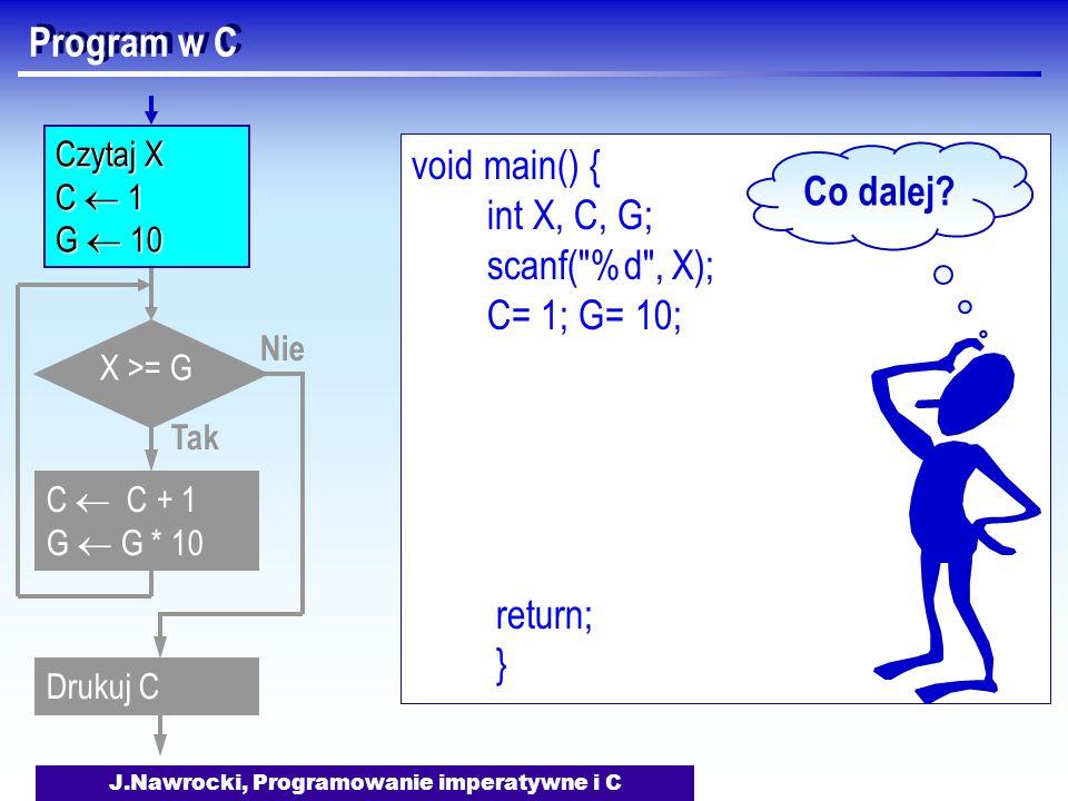 J.Nawrocki, Programowanie imperatywne i C Program w C void main() { int X, C, G; scanf( %d , X); C= 1; G= 10; return; } Nie X >= G Tak C C + 1 G G * 10 Drukuj C Czytaj X C 1 G 10 Co dalej?