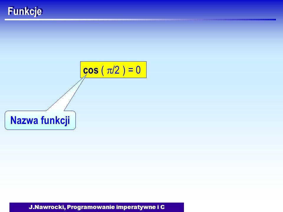 J.Nawrocki, Programowanie imperatywne i C Funkcje cos ( /2 ) = 0 Nazwa funkcji