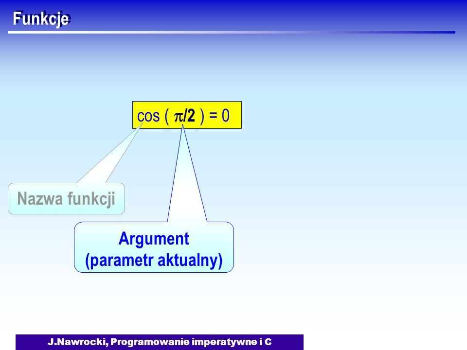 J.Nawrocki, Programowanie imperatywne i C Funkcje cos ( /2 ) = 0 Argument (parametr aktualny) Nazwa funkcji