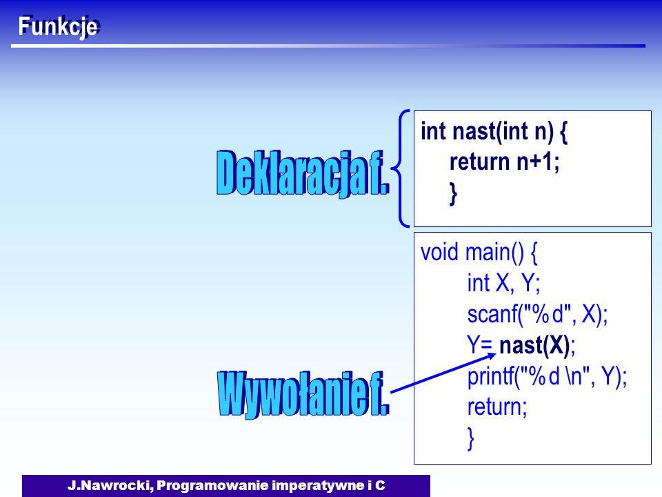 J.Nawrocki, Programowanie imperatywne i C Funkcje void main() { int X, Y; scanf( %d , X); Y= nast(X) ; printf( %d \n , Y); return; } int nast(int n) { return n+1; }