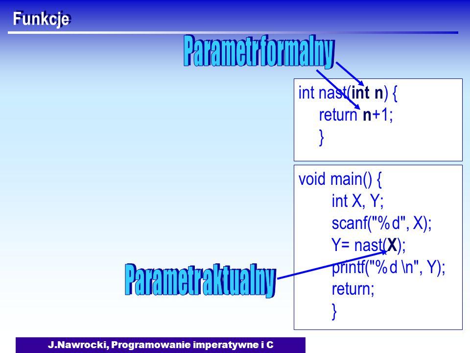 J.Nawrocki, Programowanie imperatywne i C Funkcje void main() { int X, Y; scanf( %d , X); Y= nast( X ); printf( %d \n , Y); return; } int nast( int n ) { return n +1; }