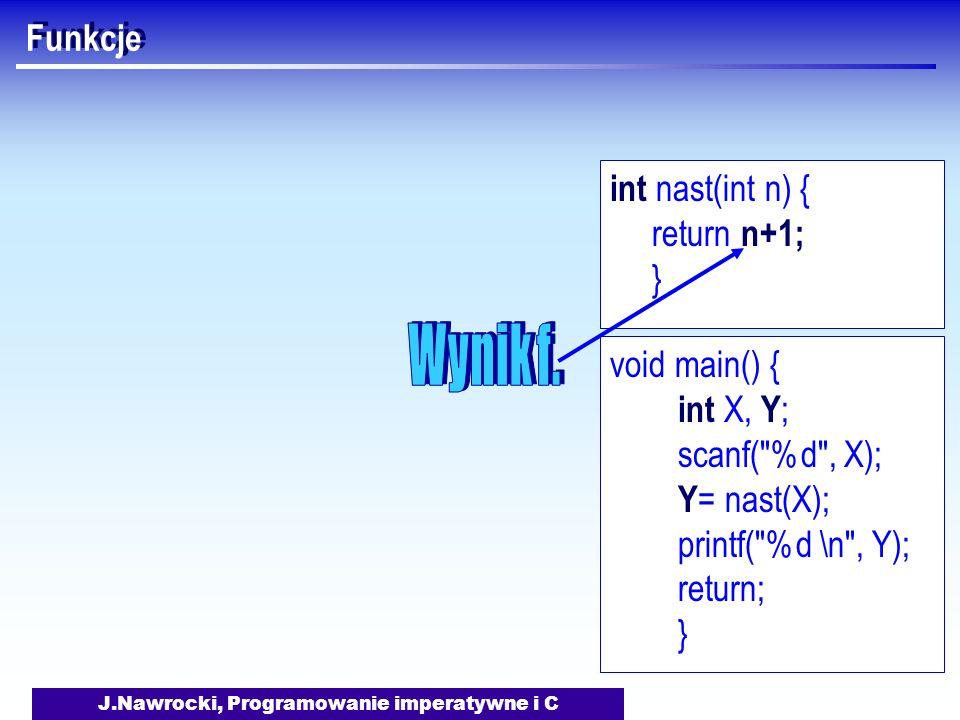 J.Nawrocki, Programowanie imperatywne i C Funkcje void main() { int X, Y ; scanf( %d , X); Y = nast(X); printf( %d \n , Y); return; } int nast(int n) { return n+1; }