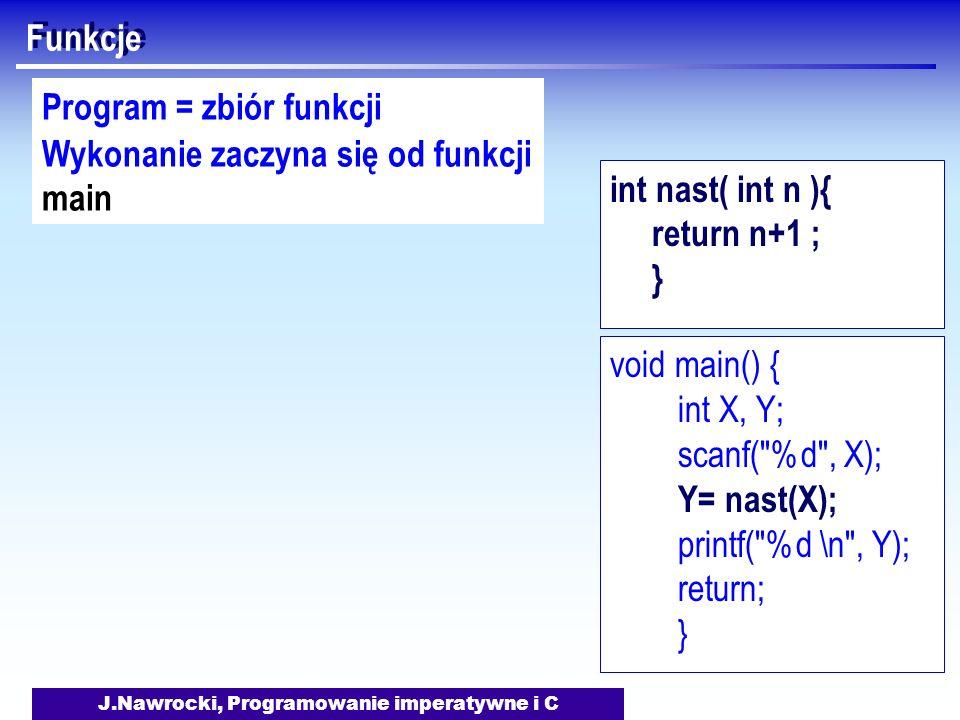 J.Nawrocki, Programowanie imperatywne i C Funkcje Program = zbiór funkcji Wykonanie zaczyna się od funkcji main void main() { int X, Y; scanf(