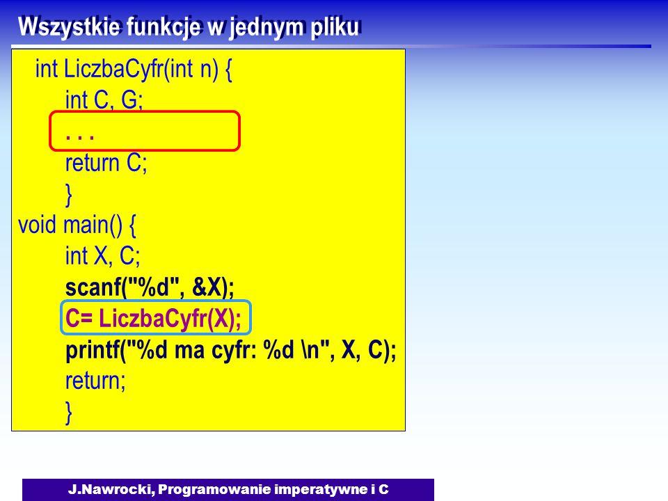 J.Nawrocki, Programowanie imperatywne i C Wszystkie funkcje w jednym pliku int LiczbaCyfr(int n) { int C, G;... return C; } void main() { int X, C; sc