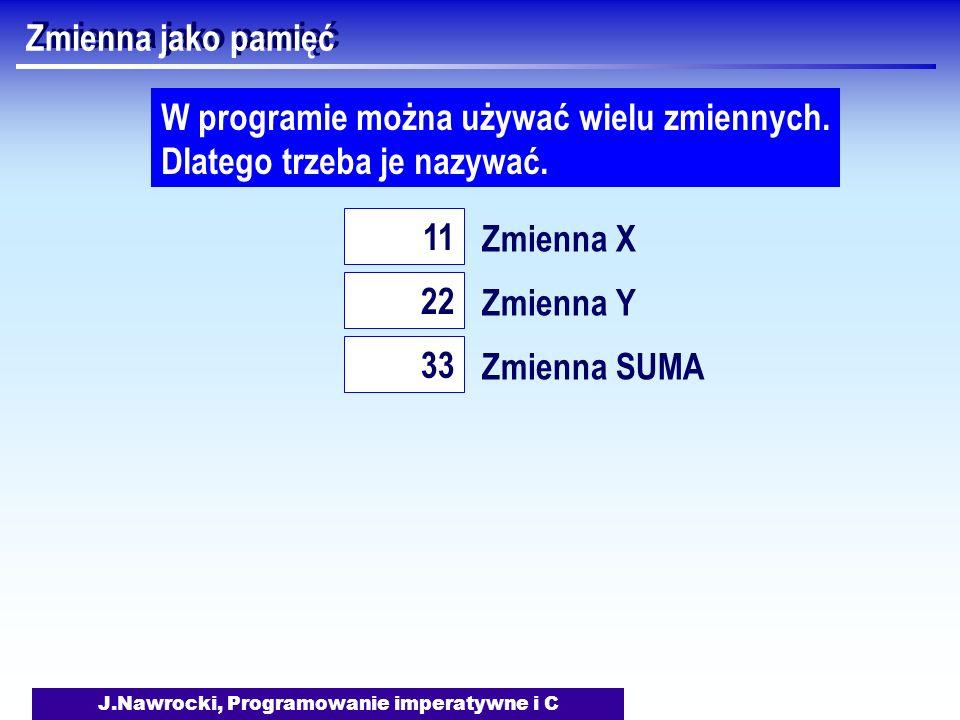 J.Nawrocki, Programowanie imperatywne i C Zmienna jako pamięć Zmienna X 11 W programie można używać wielu zmiennych.