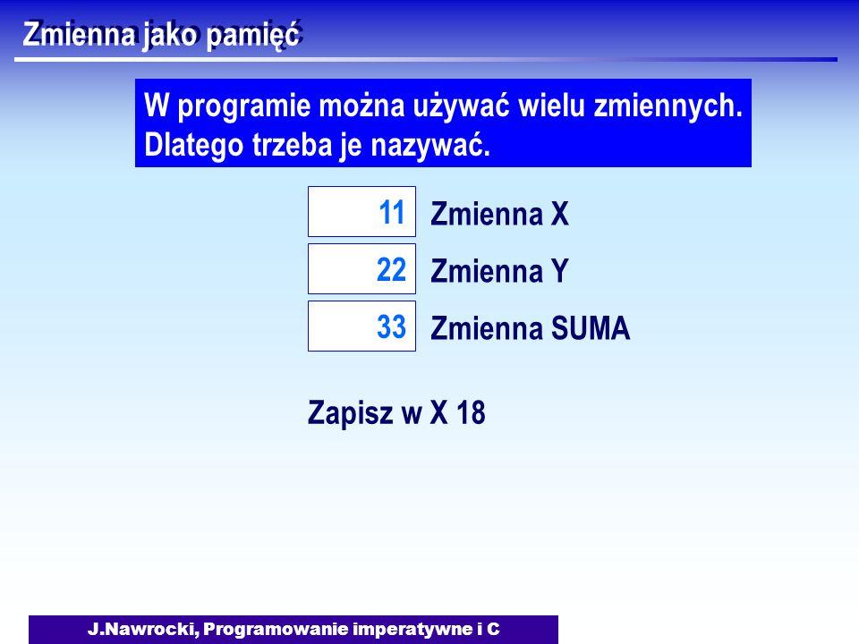 J.Nawrocki, Programowanie imperatywne i C Zmienna jako pamięć Zmienna X 11 W programie można używać wielu zmiennych. Dlatego trzeba je nazywać. Zmienn