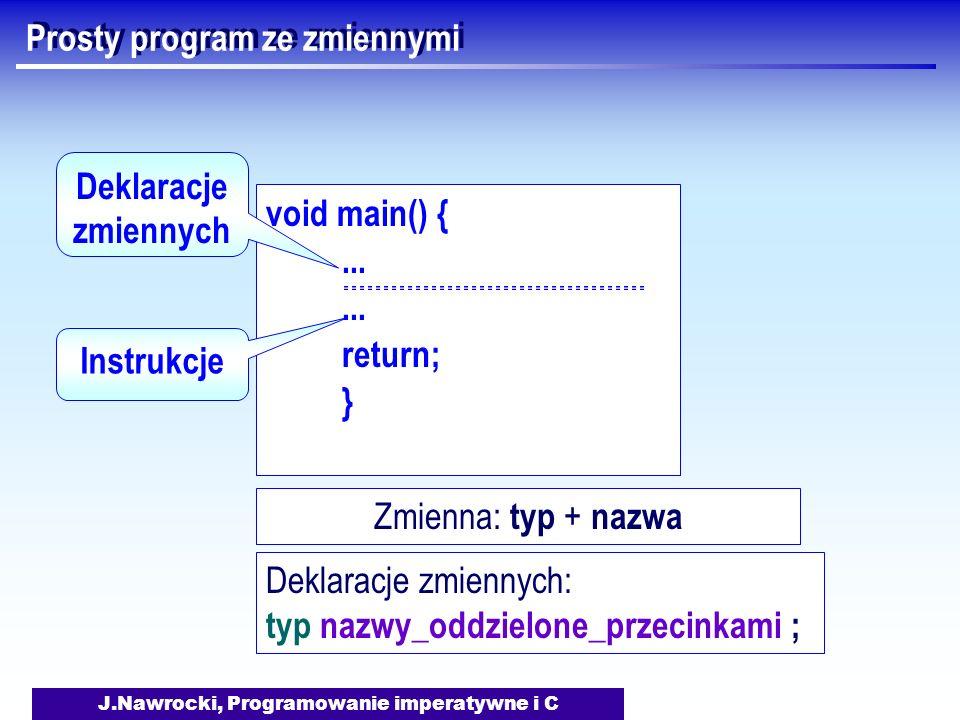 J.Nawrocki, Programowanie imperatywne i C Prosty program ze zmiennymi void main() {... return; } Instrukcje Deklaracje zmiennych Zmienna: typ + nazwa