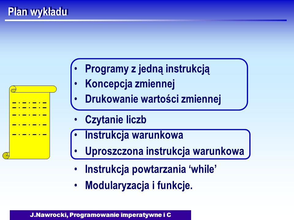 J.Nawrocki, Programowanie imperatywne i C Plan wykładu Programy z jedną instrukcją Koncepcja zmiennej Drukowanie wartości zmiennej Czytanie liczb Instrukcja warunkowa Uproszczona instrukcja warunkowa Instrukcja powtarzania while Modularyzacja i funkcje.