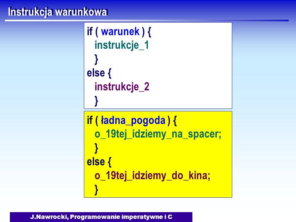 J.Nawrocki, Programowanie imperatywne i C Instrukcja warunkowa if ( warunek ) { instrukcje_1 } else { instrukcje_2 } if ( ładna_pogoda ) { o_19tej_idziemy_na_spacer; } else { o_19tej_idziemy_do_kina; }