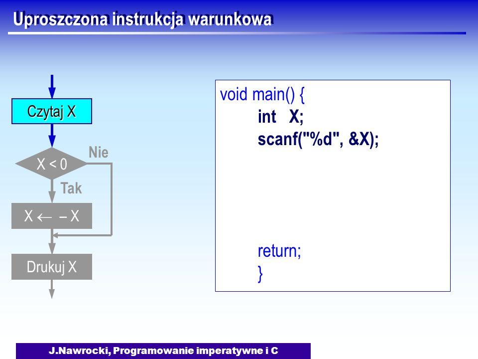 J.Nawrocki, Programowanie imperatywne i C Uproszczona instrukcja warunkowa void main() { int X; scanf( %d , &X); return; } X < 0 Tak Nie Drukuj X Czytaj X X – X