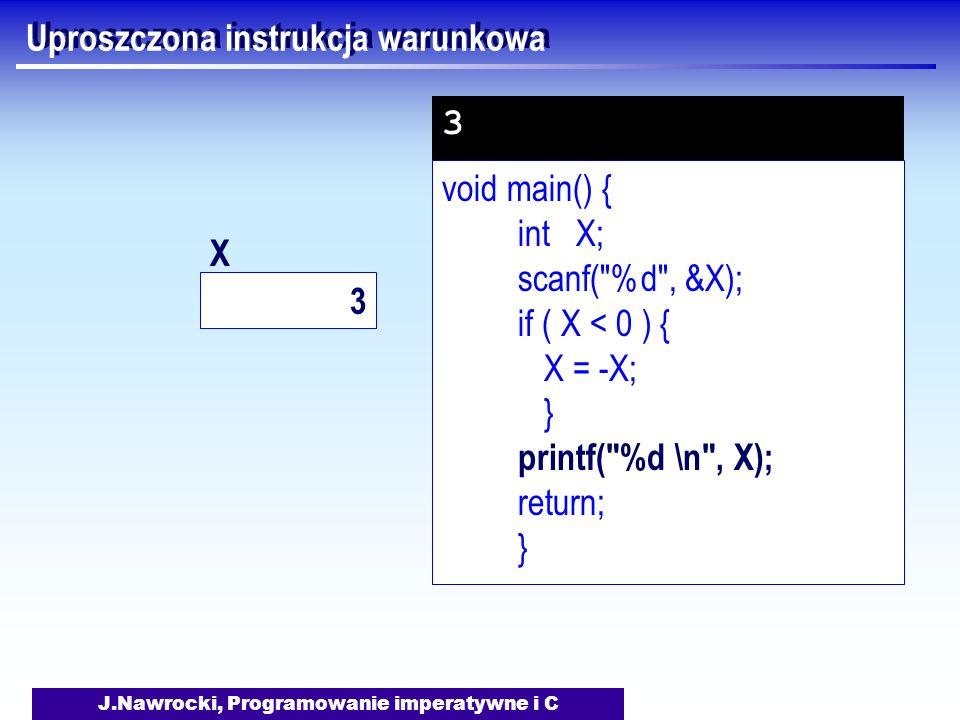 J.Nawrocki, Programowanie imperatywne i C Uproszczona instrukcja warunkowa void main() { int X; scanf( %d , &X); if ( X < 0 ) { X = -X; } printf( %d \n , X); return; } 3 3 X