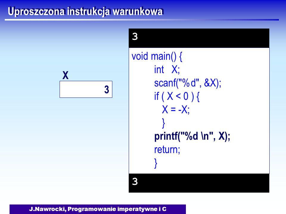 J.Nawrocki, Programowanie imperatywne i C Uproszczona instrukcja warunkowa void main() { int X; scanf( %d , &X); if ( X < 0 ) { X = -X; } printf( %d \n , X); return; } 3 3 3 X