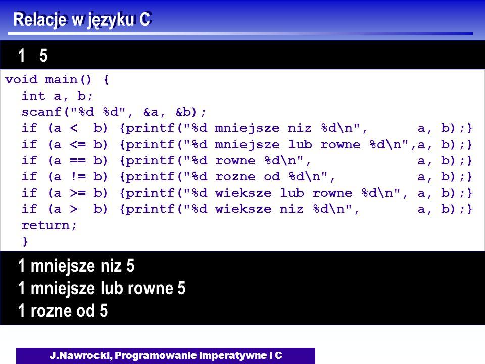 J.Nawrocki, Programowanie imperatywne i C Relacje w języku C void main() { int a, b; scanf( %d %d , &a, &b); if (a < b) {printf( %d mniejsze niz %d\n , a, b);} if (a <= b) {printf( %d mniejsze lub rowne %d\n ,a, b);} if (a == b) {printf( %d rowne %d\n , a, b);} if (a != b) {printf( %d rozne od %d\n , a, b);} if (a >= b) {printf( %d wieksze lub rowne %d\n , a, b);} if (a > b) {printf( %d wieksze niz %d\n , a, b);} return; } 1 5 1 mniejsze niz 5 1 mniejsze lub rowne 5 1 rozne od 5