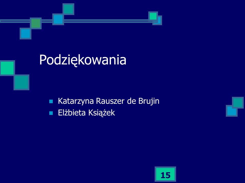 15 Podziękowania Katarzyna Rauszer de Brujin Elżbieta Książek