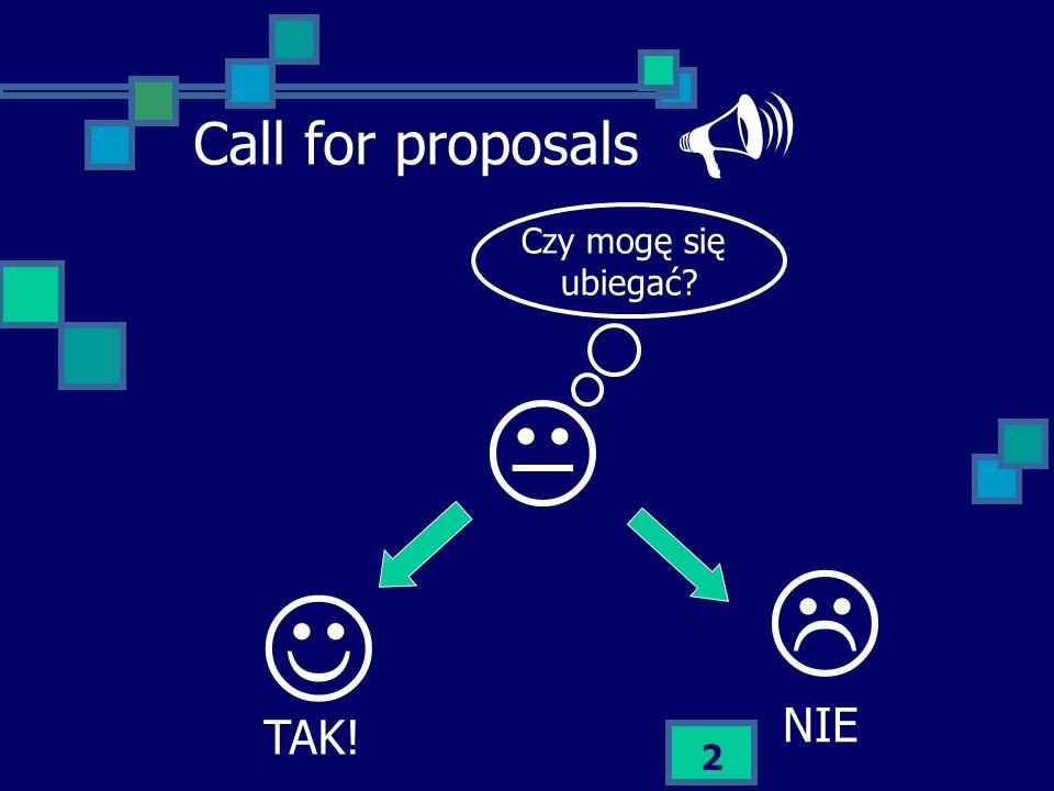 2 Call for proposals Czy mogę się ubiegać? TAK! NIE