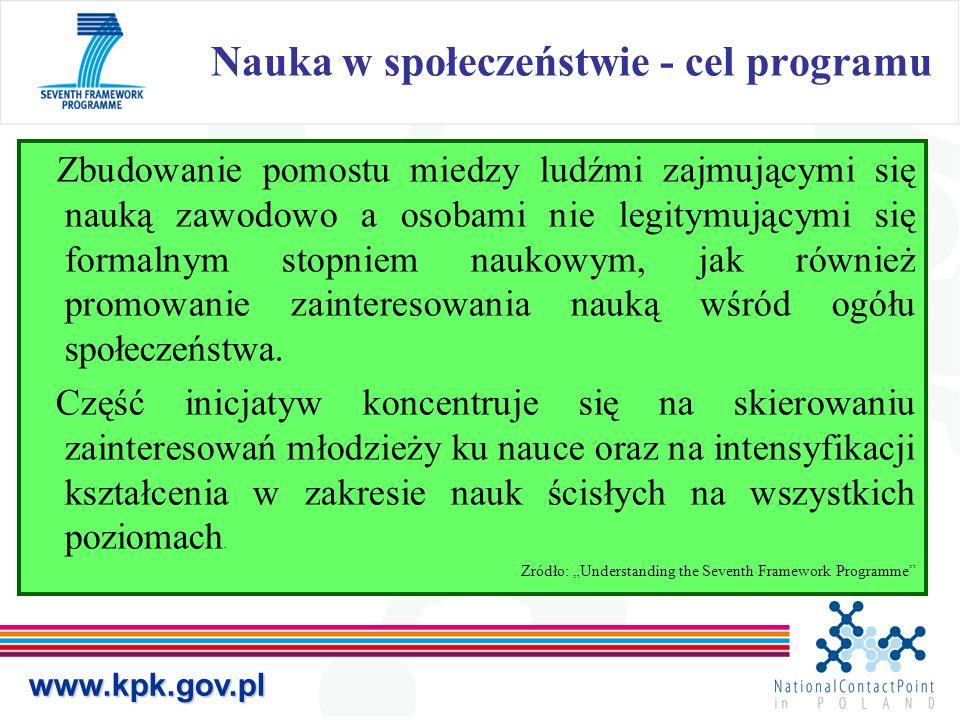 Nauka w społeczeństwie - cel programuwww.kpk.gov.pl Zbudowanie pomostu miedzy ludźmi zajmującymi się nauką zawodowo a osobami nie legitymującymi się formalnym stopniem naukowym, jak również promowanie zainteresowania nauką wśród ogółu społeczeństwa.